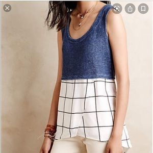 Anthropologie Deletta Tiered Gridwork Tank